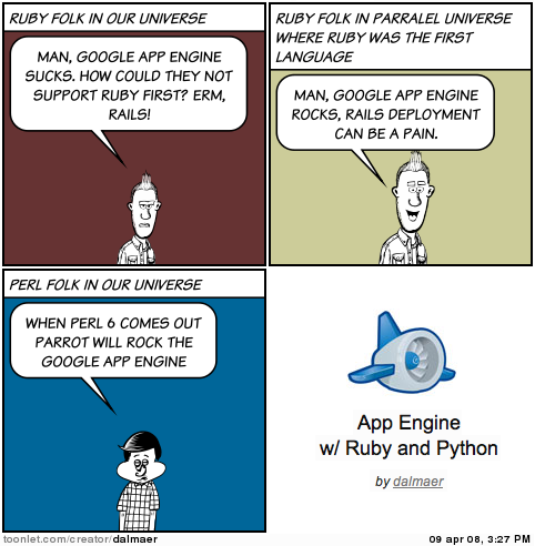 App Engine with Ruby, Python, and Perl on Dion Almaer's Blog