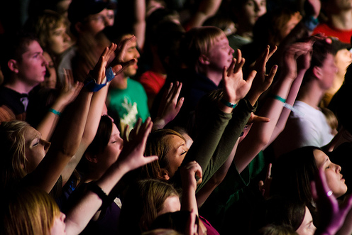 Group with raised hands