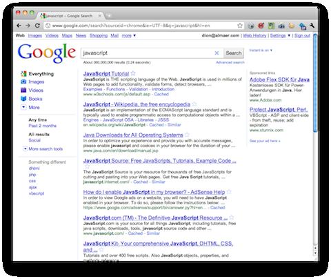 javascript on search