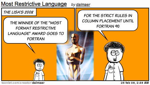 Lisa Awards: Most Format Restrictive Language