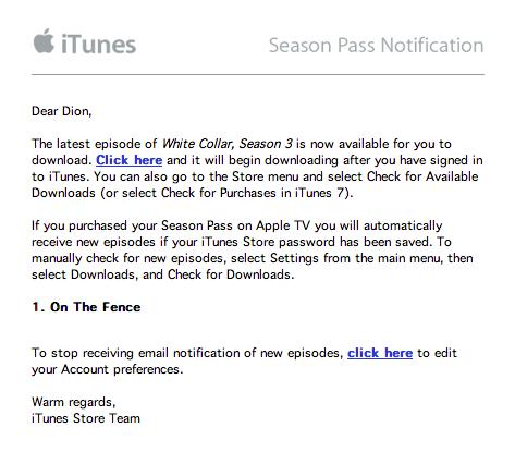 Season Pass Email